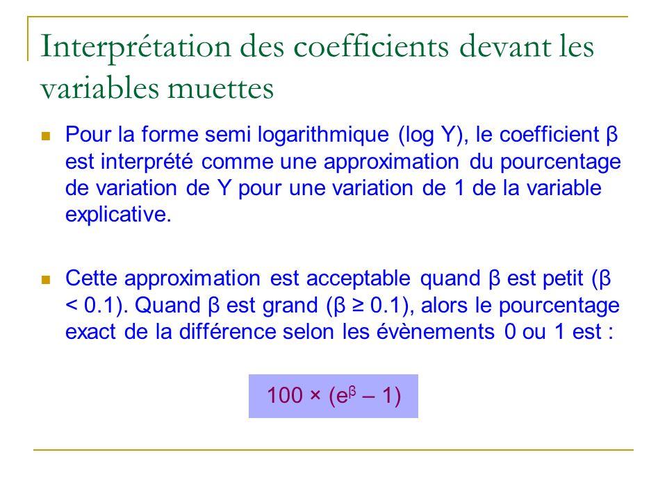 Interprétation des coefficients devant les variables muettes Pour la forme semi logarithmique (log Y), le coefficient β est interprété comme une appro