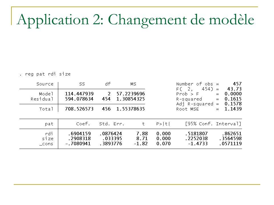 Application 2: Changement de modèle