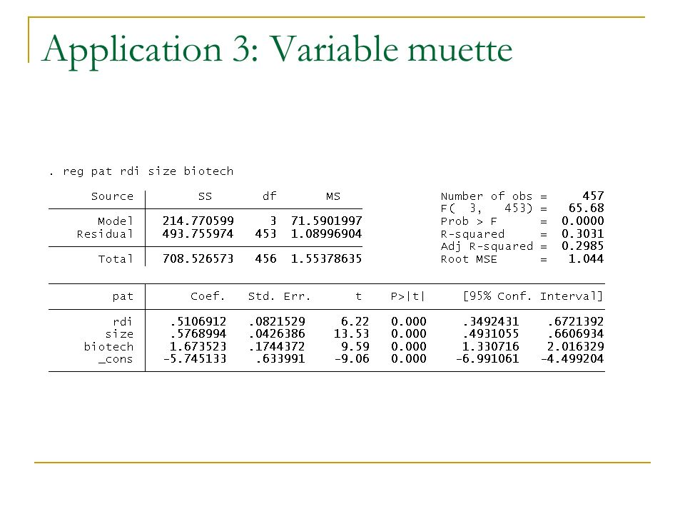 Application 3: Variable muette
