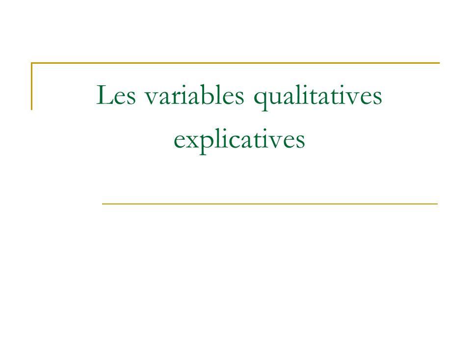 Les variables qualitatives explicatives