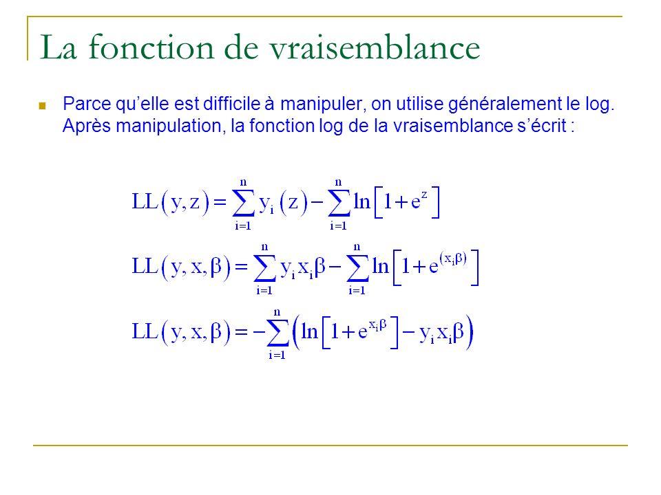 La fonction de vraisemblance Parce quelle est difficile à manipuler, on utilise généralement le log. Après manipulation, la fonction log de la vraisem