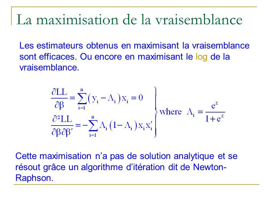 La maximisation de la vraisemblance Cette maximisation na pas de solution analytique et se résout grâce un algorithme ditération dit de Newton- Raphso