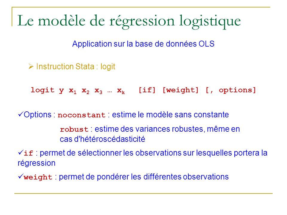 Le modèle de régression logistique Application sur la base de données OLS Instruction Stata : logit logit y x 1 x 2 x 3 … x k [if] [weight] [, options