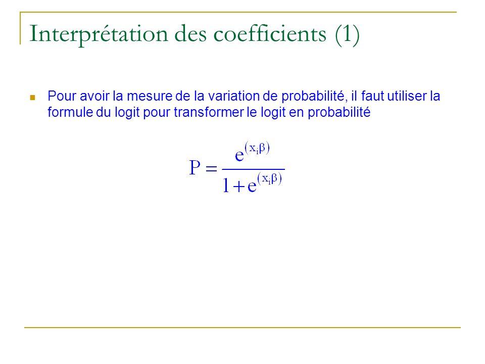 Interprétation des coefficients (1) Pour avoir la mesure de la variation de probabilité, il faut utiliser la formule du logit pour transformer le logi