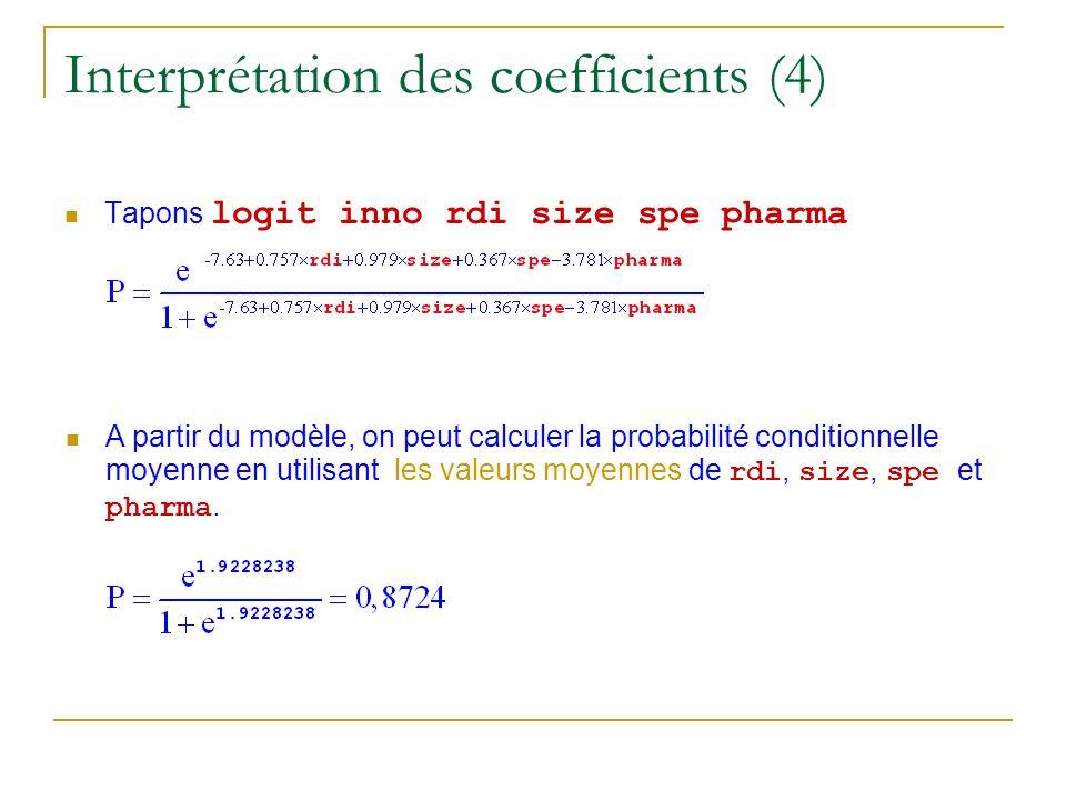 Interprétation des coefficients (4) Tapons logit inno rdi size spe pharma A partir du modèle, on peut calculer la probabilité conditionnelle moyenne e