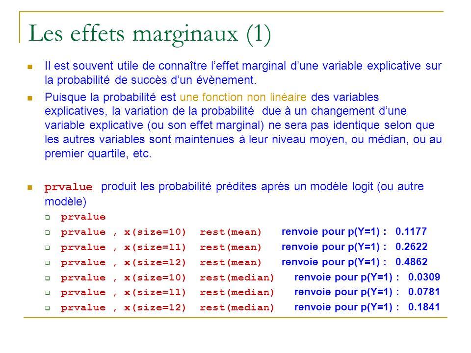 Les effets marginaux (1) Il est souvent utile de connaître leffet marginal dune variable explicative sur la probabilité de succès dun évènement. Puisq