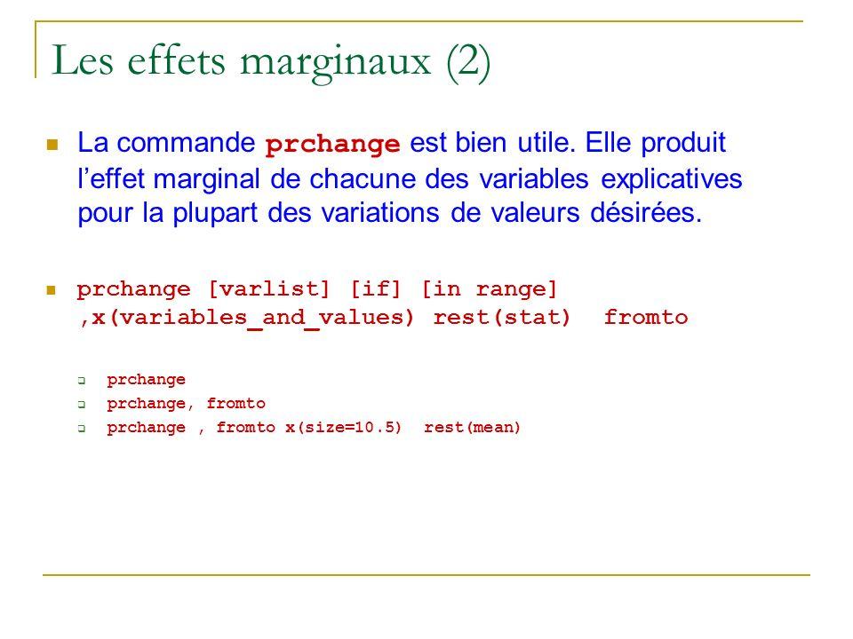 Les effets marginaux (2) La commande prchange est bien utile. Elle produit leffet marginal de chacune des variables explicatives pour la plupart des v
