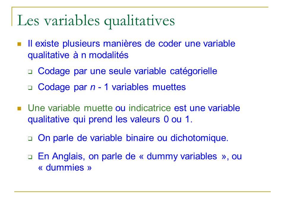 Les variables qualitatives Codage par une seule variable catégorielle Deux modalités : On crée une variable catégorielle « genre » qui est égale à 1 si lindividu est une femme, 2 si lindividu est un homme.