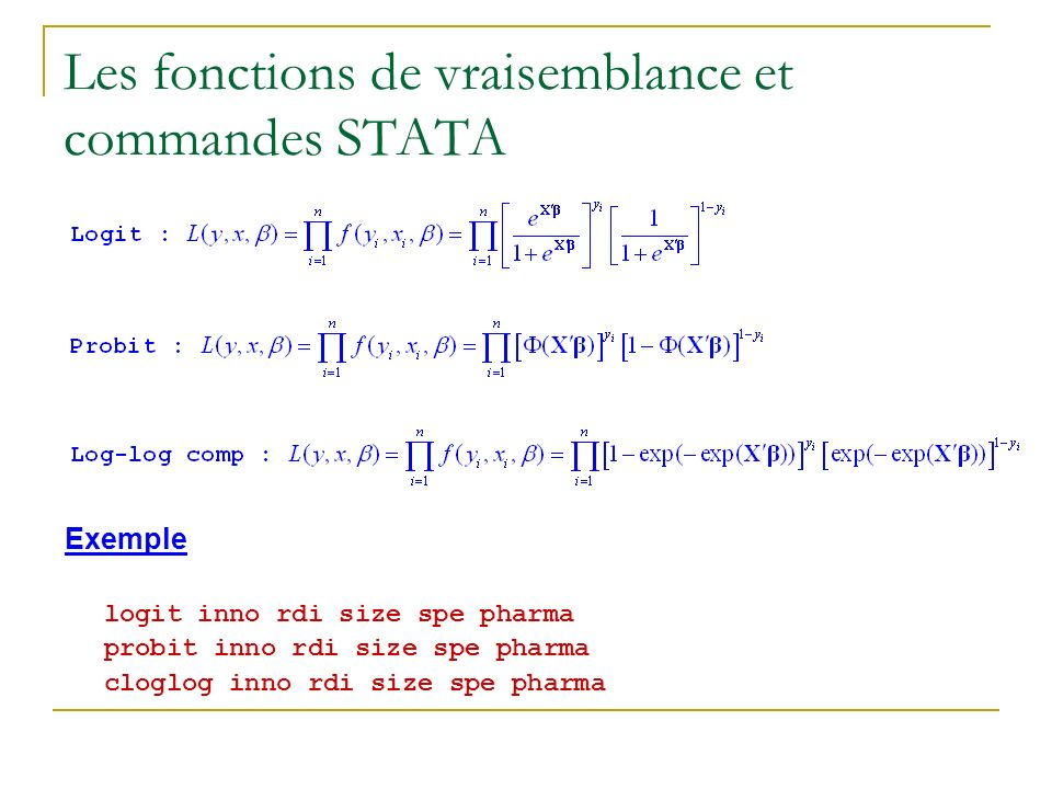 Les fonctions de vraisemblance et commandes STATA Exemple logit inno rdi size spe pharma probit inno rdi size spe pharma cloglog inno rdi size spe pha