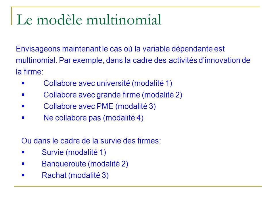 Le modèle multinomial Envisageons maintenant le cas où la variable dépendante est multinomial. Par exemple, dans la cadre des activités dinnovation de