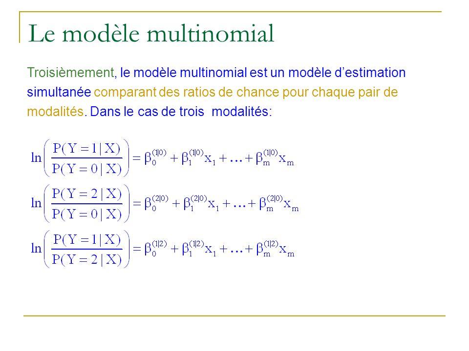 Le modèle multinomial Troisièmement, le modèle multinomial est un modèle destimation simultanée comparant des ratios de chance pour chaque pair de mod