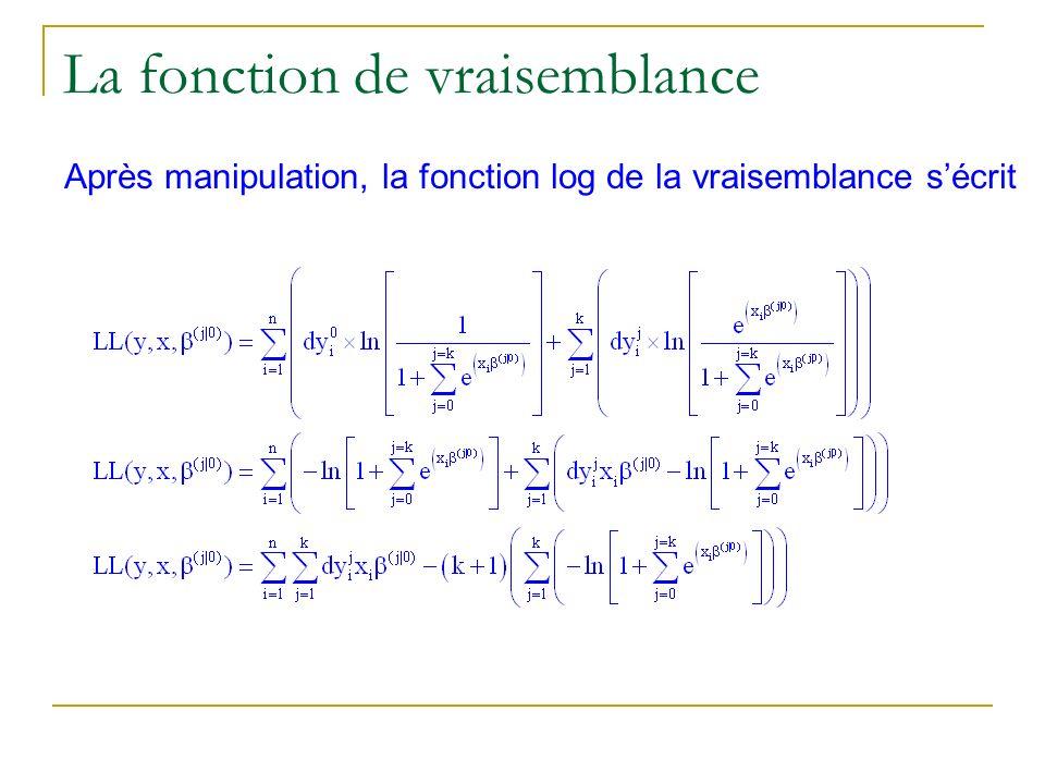 La fonction de vraisemblance Après manipulation, la fonction log de la vraisemblance sécrit