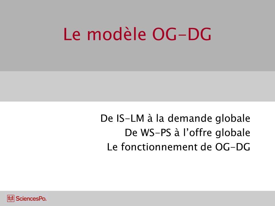 Le modèle OG-DG De IS-LM à la demande globale De WS-PS à loffre globale Le fonctionnement de OG-DG
