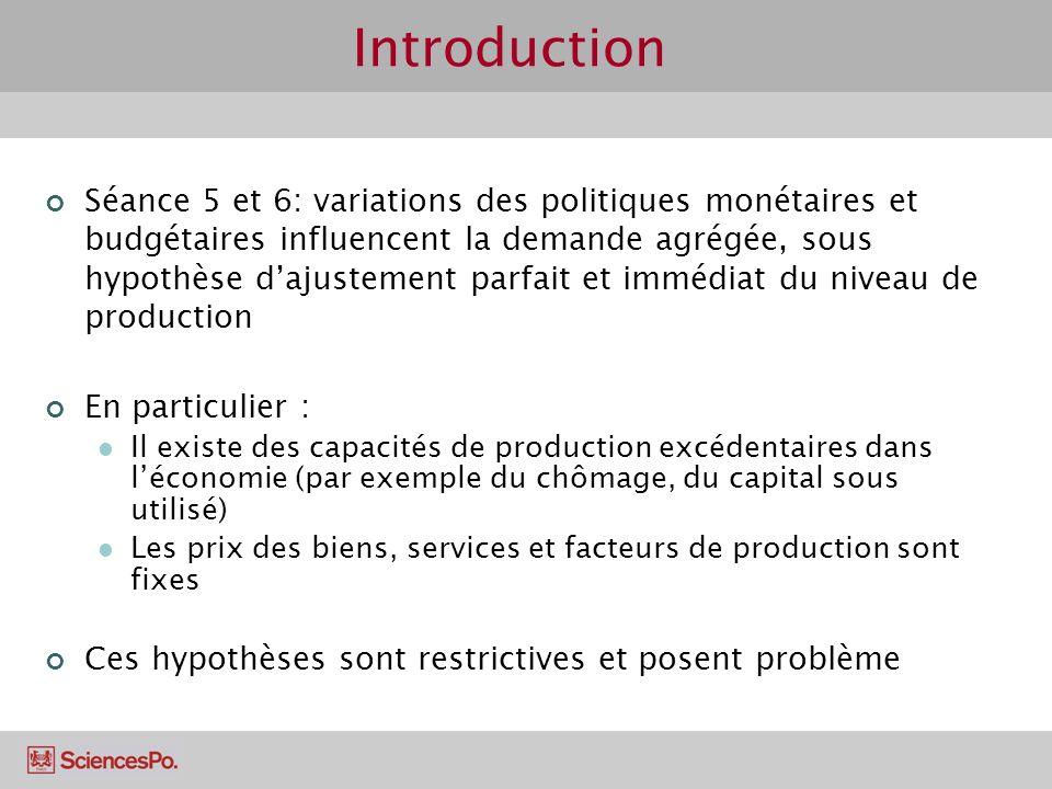 Introduction Séance 5 et 6: variations des politiques monétaires et budgétaires influencent la demande agrégée, sous hypothèse dajustement parfait et