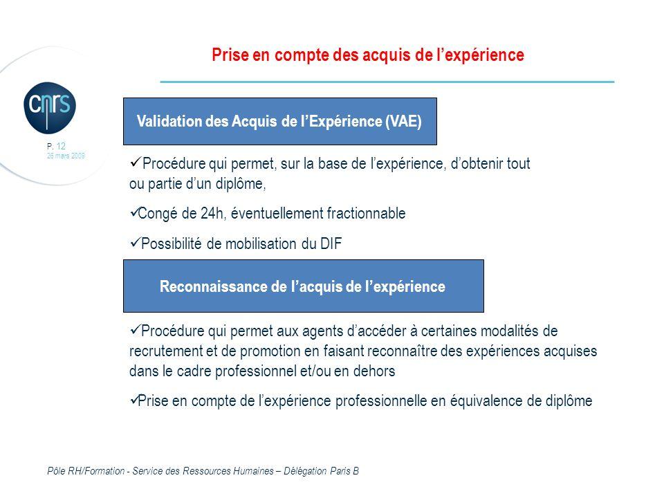 Pôle RH/Formation - Service des Ressources Humaines – Délégation Paris B P.