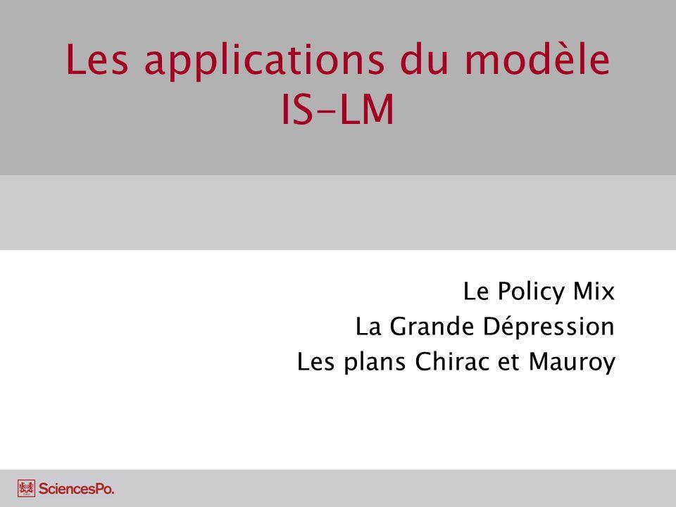 Les applications du modèle IS-LM Le Policy Mix La Grande Dépression Les plans Chirac et Mauroy