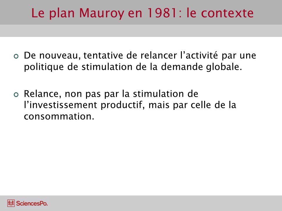 De nouveau, tentative de relancer lactivité par une politique de stimulation de la demande globale. Relance, non pas par la stimulation de linvestisse