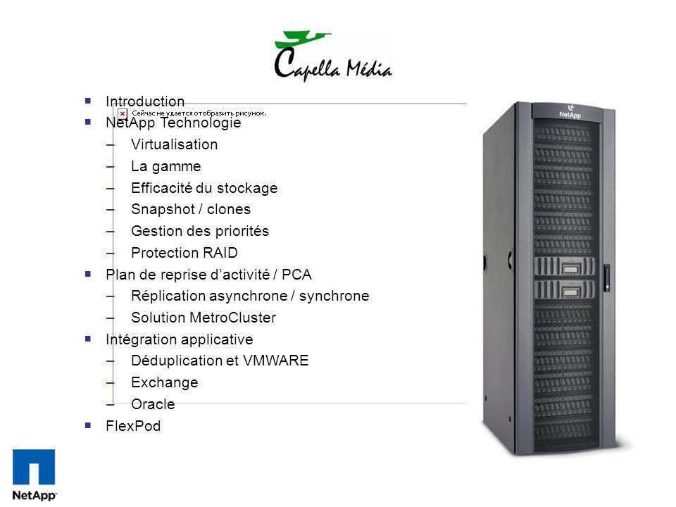 Introduction NetApp Technologie –Virtualisation –La gamme –Efficacité du stockage –Snapshot / clones –Gestion des priorités –Protection RAID Plan de r