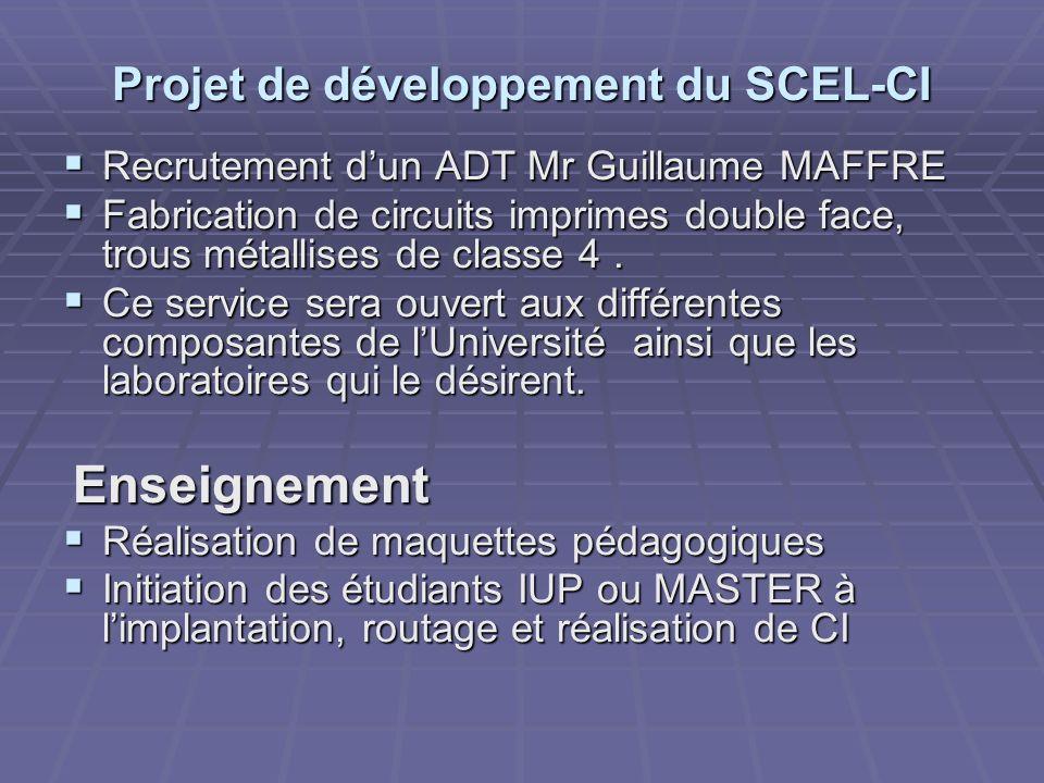 Projet de développement du SCEL-CI Recrutement dun ADT Mr Guillaume MAFFRE Recrutement dun ADT Mr Guillaume MAFFRE Fabrication de circuits imprimes do