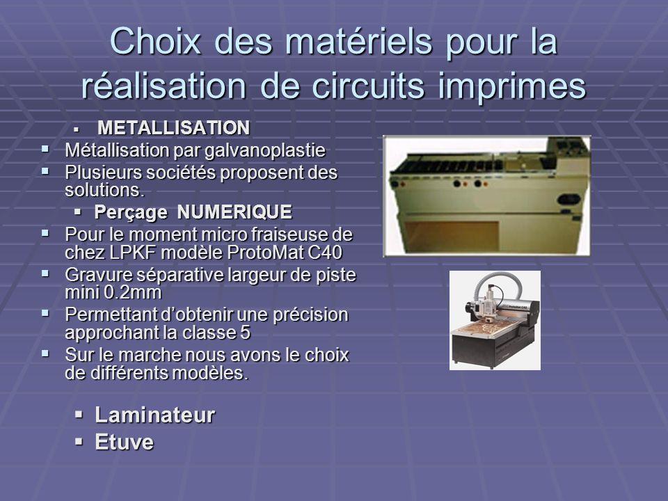 Choix des matériels pour la réalisation de circuits imprimes METALLISATION METALLISATION Métallisation par galvanoplastie Métallisation par galvanopla