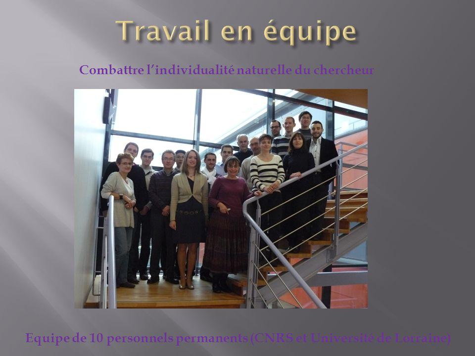 Combattre lindividualité naturelle du chercheur Equipe de 10 personnels permanents (CNRS et Université de Lorraine)