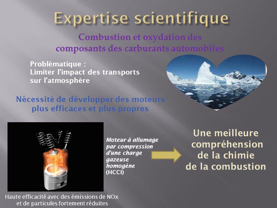 Combustion et oxydation des composants des carburants automobiles Problématique : Limiter limpact des transports sur latmosphère Une meilleure compréh