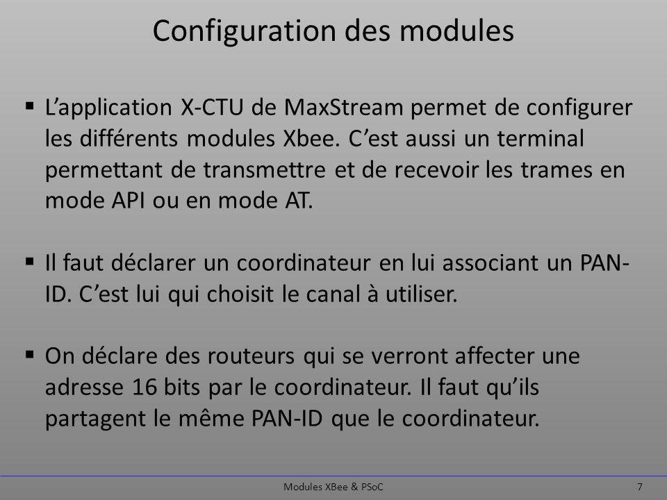 Première approche Modules XBee & PSoC 8 Reconnaissance des adresses MAC (SH & SL) et 16 bits (NWK 16-bit address) des différents modules connectés au réseau : table de routage simplifiée.