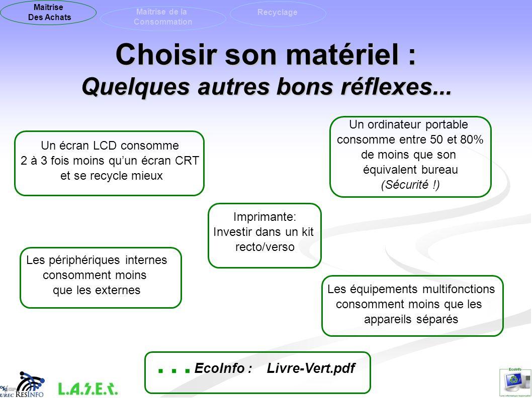 Choisir son matériel : Quelques autres bons réflexes... Un écran LCD consomme 2 à 3 fois moins quun écran CRT et se recycle mieux Imprimante: Investir