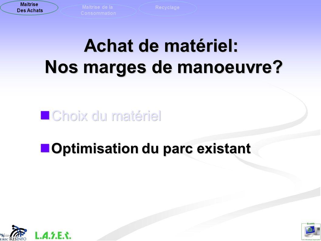 Choix du matériel Choix du matériel Optimisation du parc existant Optimisation du parc existant Achat de matériel: Nos marges de manoeuvre? Maîtrise D