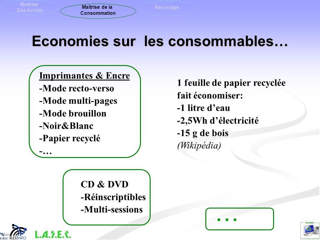 Economies sur les consommables… Maîtrise Des Achats Maîtrise de la Consommation Recyclage CD & DVD -Réinscriptibles -Multi-sessions Imprimantes & Encr