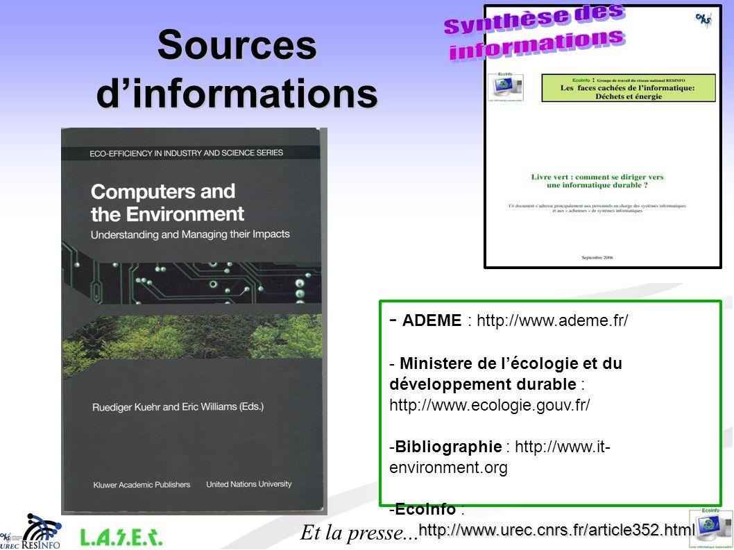 Sources dinformations - ADEME : http://www.ademe.fr/ - Ministere de lécologie et du développement durable : http://www.ecologie.gouv.fr/ -Bibliographi