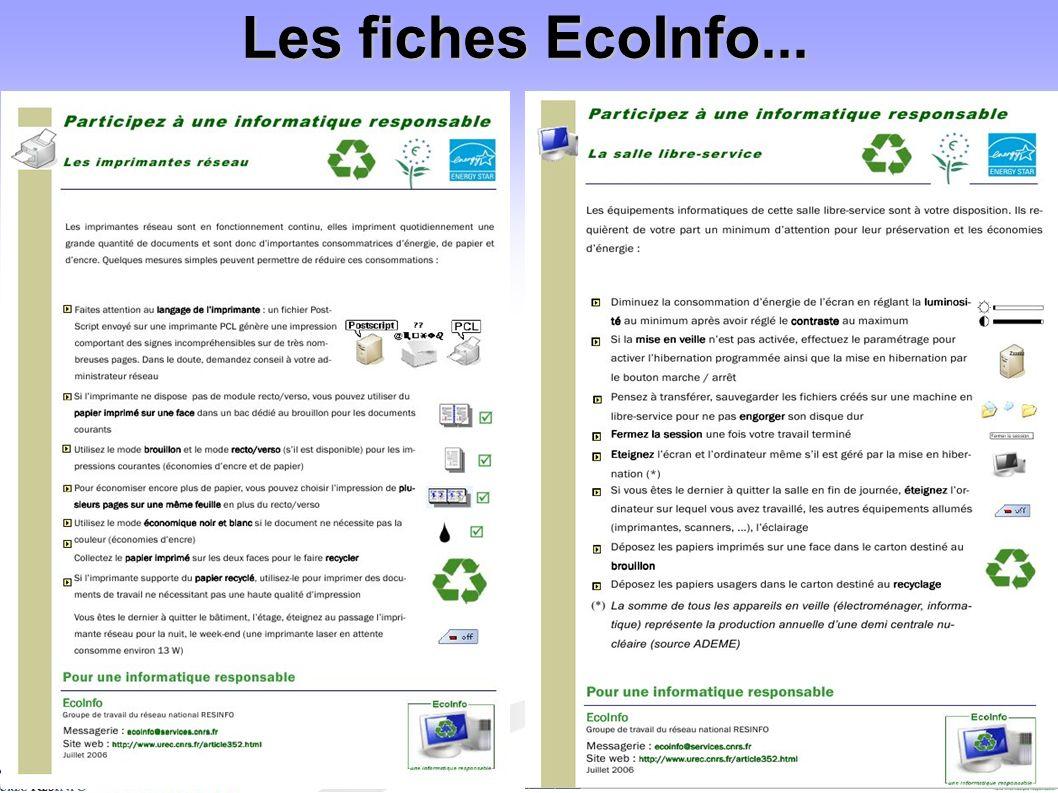 Les fiches EcoInfo...