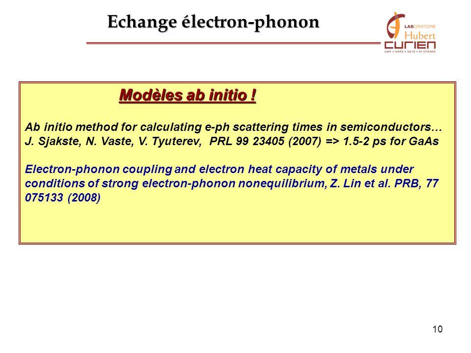 10 Echange électron-phonon Modèles ab initio ! Ab initio method for calculating e-ph scattering times in semiconductors… J. Sjakste, N. Vaste, V. Tyut