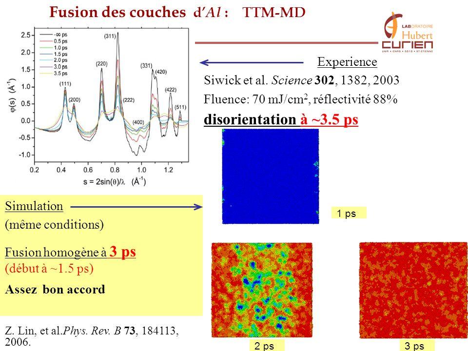 13 Fusion des couches d Al : TTM-MD Experience Siwick et al. Science 302, 1382, 2003 Fluence: 70 mJ/cm 2, réflectivité 88% disorientation à ~3.5 ps Si