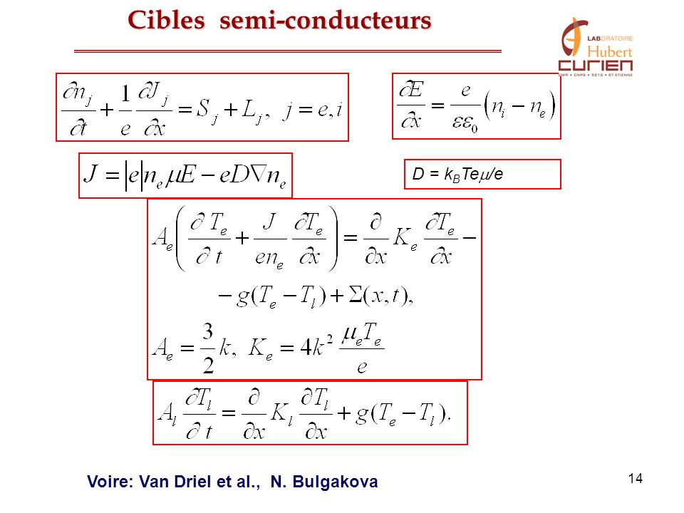 14 D = k B Te /e Voire: Van Driel et al., N. Bulgakova Cibles semi-conducteurs