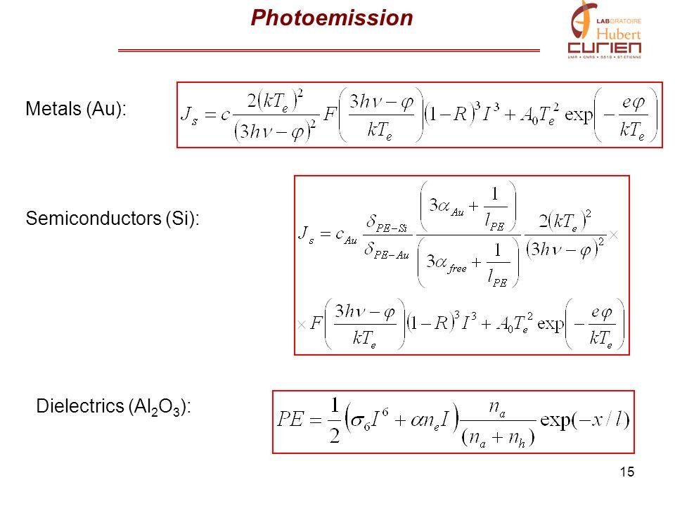 15 Photoemission Metals (Au): Semiconductors (Si): Dielectrics (Al 2 O 3 ):