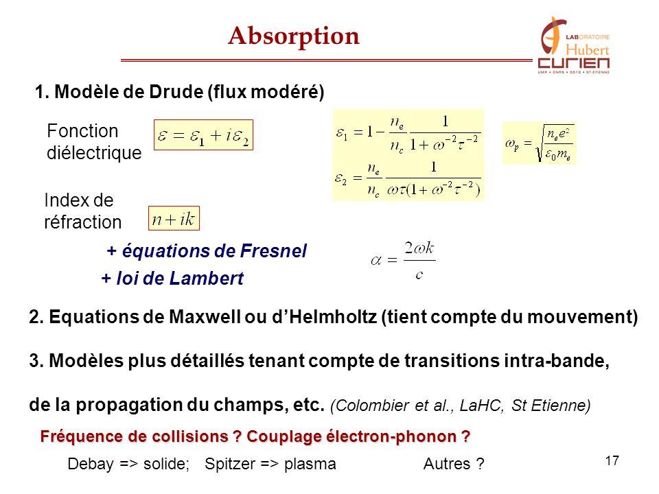 17 Fonction diélectrique Index de réfraction Absorption 1. Modèle de Drude (flux modéré) 2. Equations de Maxwell ou dHelmholtz (tient compte du mouvem