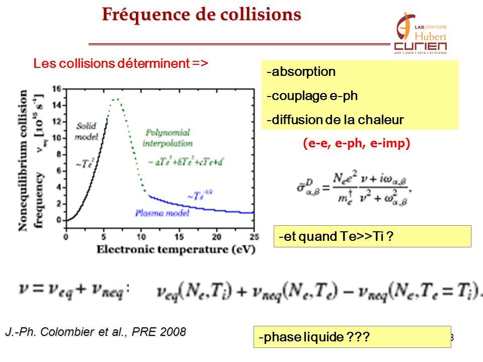 18 Fréquence de collisions -absorption -couplage e-ph -diffusion de la chaleur -et quand Te>>Ti ? -phase liquide ??? Les collisions déterminent => (e-