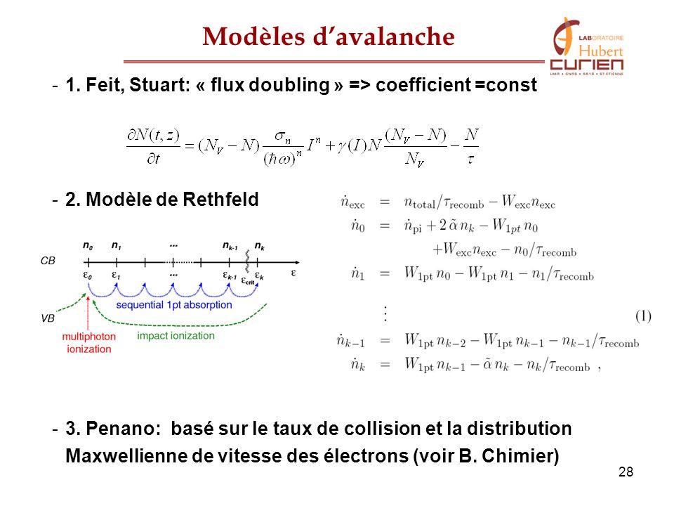 28 Modèles davalanche -1. Feit, Stuart: « flux doubling » => coefficient =const -2. Modèle de Rethfeld -3. Penano: basé sur le taux de collision et la