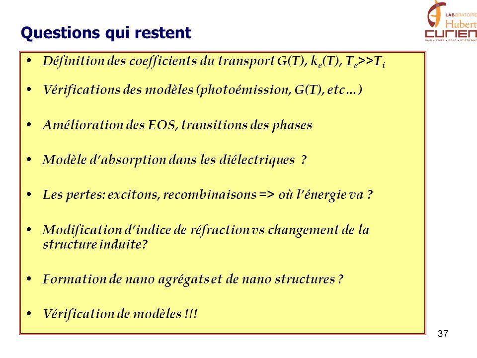 37 Définition des coefficients du transport G(T), k e (T), T e >>T i Vérifications des modèles (photoémission, G(T), etc…) Amélioration des EOS, trans
