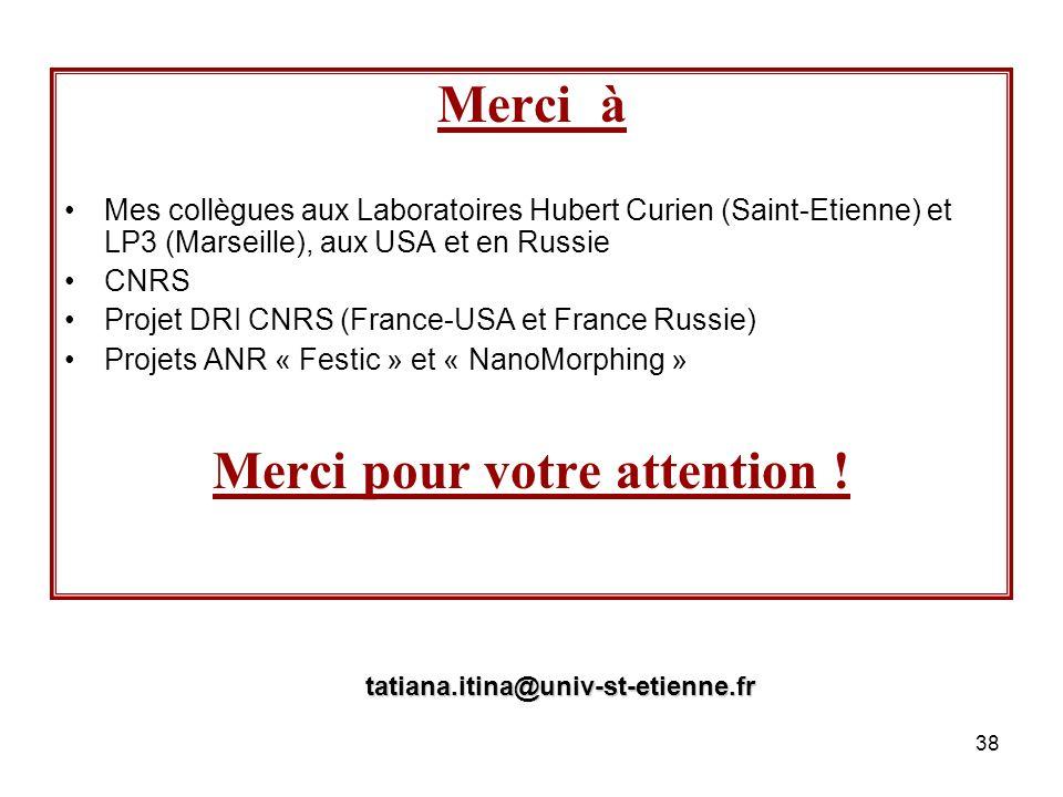 38 Merci à Mes collègues aux Laboratoires Hubert Curien (Saint-Etienne) et LP3 (Marseille), aux USA et en Russie CNRS Projet DRI CNRS (France-USA et F