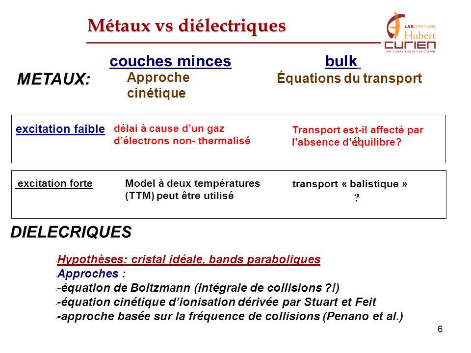 37 Définition des coefficients du transport G(T), k e (T), T e >>T i Vérifications des modèles (photoémission, G(T), etc…) Amélioration des EOS, transitions des phases Modèle dabsorption dans les diélectriques .