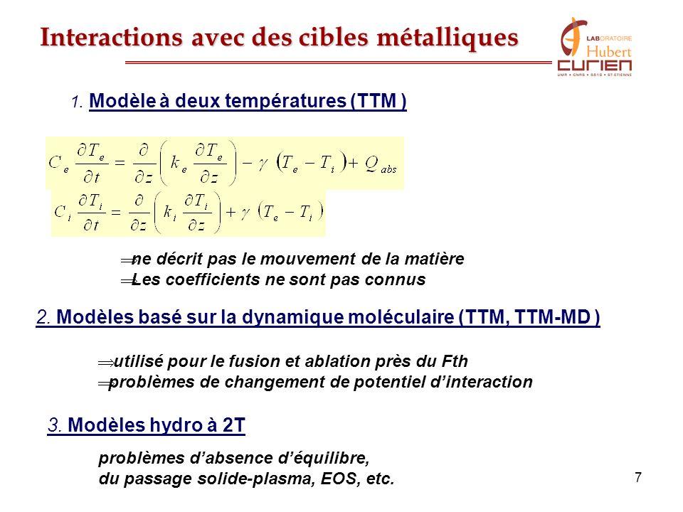 7 Interactions avec des cibles métalliques ne décrit pas le mouvement de la matière Les coefficients ne sont pas connus 1. Modèle à deux températures