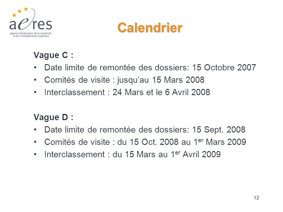 12 Calendrier Vague C : Date limite de remontée des dossiers: 15 Octobre 2007 Comités de visite : jusquau 15 Mars 2008 Interclassement : 24 Mars et le