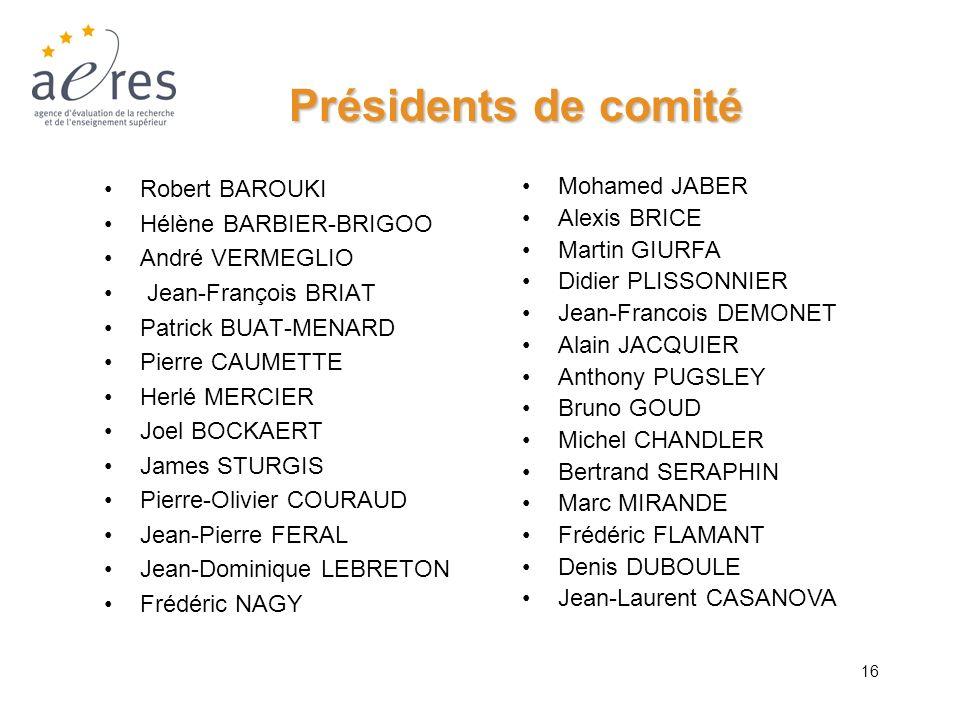 16 Présidents de comité Robert BAROUKI Hélène BARBIER-BRIGOO André VERMEGLIO Jean-François BRIAT Patrick BUAT-MENARD Pierre CAUMETTE Herlé MERCIER Joe