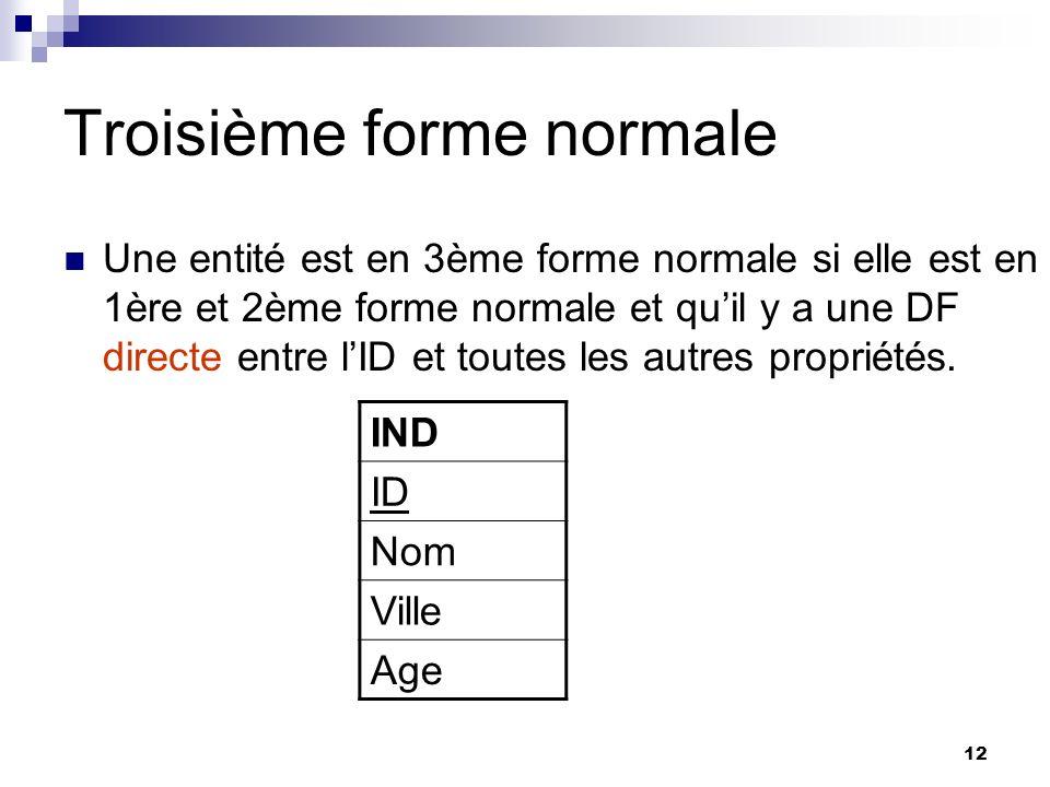 12 Troisième forme normale Une entité est en 3ème forme normale si elle est en 1ère et 2ème forme normale et quil y a une DF directe entre lID et tout