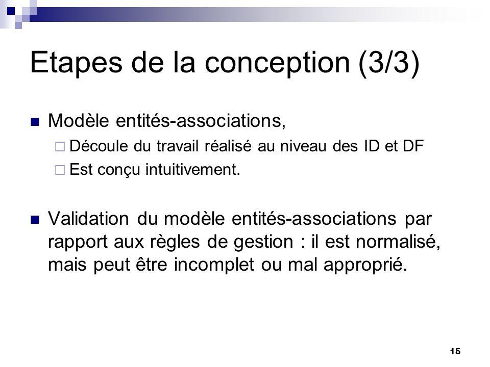 15 Etapes de la conception (3/3) Modèle entités-associations, Découle du travail réalisé au niveau des ID et DF Est conçu intuitivement. Validation du