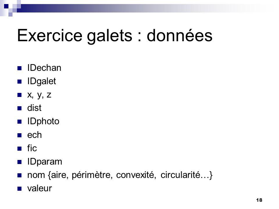 18 Exercice galets : données IDechan IDgalet x, y, z dist IDphoto ech fic IDparam nom {aire, périmètre, convexité, circularité…} valeur