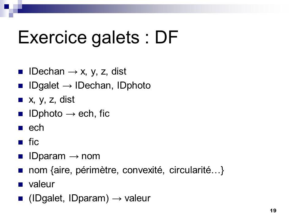19 Exercice galets : DF IDechan x, y, z, dist IDgalet IDechan, IDphoto x, y, z, dist IDphoto ech, fic ech fic IDparam nom nom {aire, périmètre, convex