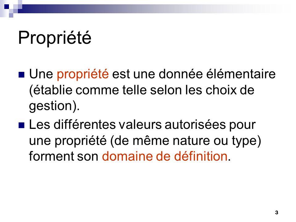 3 Propriété Une propriété est une donnée élémentaire (établie comme telle selon les choix de gestion). Les différentes valeurs autorisées pour une pro